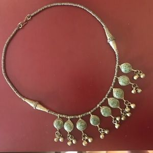 Vintage Indian silver green stone jingle necklace